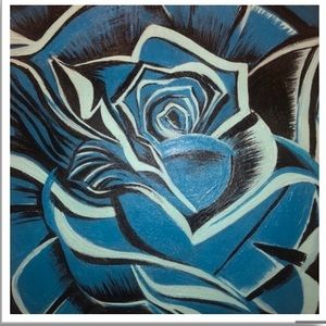 10x10 Blue Rose Art Print Wall Decor